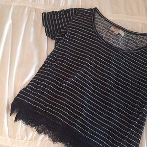 LOFT Navy Blue and White Striped Shirt